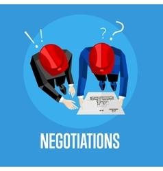 Negotiation banner Top view of engineer builders vector