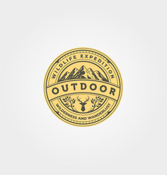 outdoor icon logo emblem design adventure vintage vector image