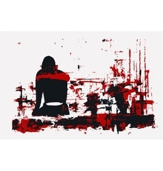 Paint girl sitting back red vector