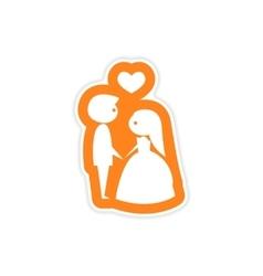 Paper sticker on white background bride groom vector