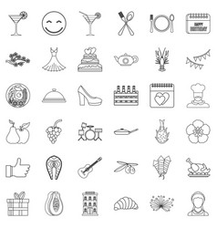 party food icons set outline style vector image