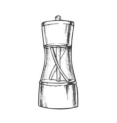 pepper spice mill kitchenware monochrome vector image