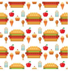 pixel art food computer design seamless pattern vector image