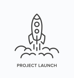 project launch line icon outline vector image