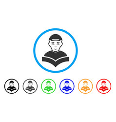 Reading schoolboy rounded icon vector