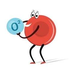 Red Blood Cell with Oxygen Cartoon vector