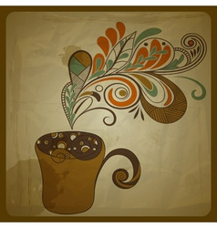retro concept composition with cup of coffee vector image