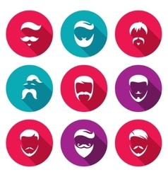 Retro Mens Hair Styles Icons Set vector image