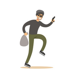 Robber in mask with sack and gun colorful cartoon vector