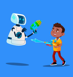 Robot and little boy having fun with water guns vector