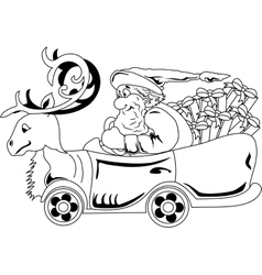 Santa Claus driving car with Christmas gifts vector image