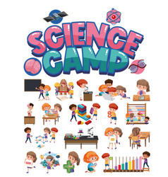 science camp logo and set children vector image