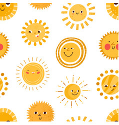 seamless childish pattern with cute happy smiling vector image