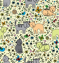 Seamlessly pattern with cats vector