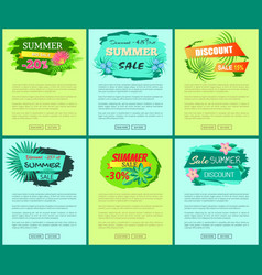 Seasonal discount at internet shop pages templates vector