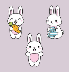 set collection kawaii cute white bunny vector image