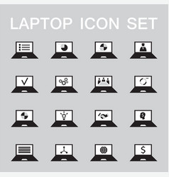 set of 16 web icons for laptop computer vector image