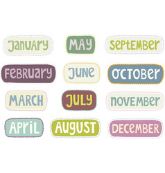 Set of month labels vector