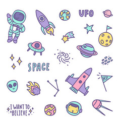 Set of space objects vector