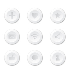 Set of white round internet icons vector