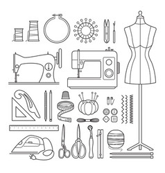 Sewing kit outline icons set vector