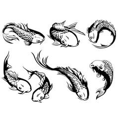 silhouette japanese carp koi fish swimming vector image