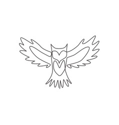 single continuous line drawing luxury owl bird vector image