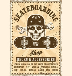skate shop advertising vintage poster vector image