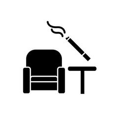 Smoking area flat design long shadow glyph icon vector