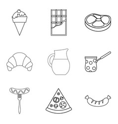 snack with coffee icons set outline style vector image vector image