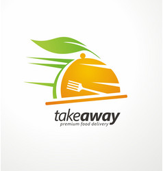 Take away food logo design idea vector