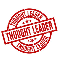 Thought leader round red grunge stamp vector