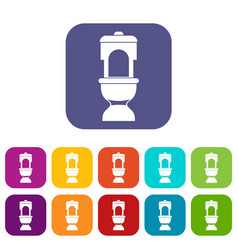toilet bowl icons set vector image