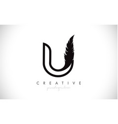 U feather letter logo icon design with feather vector