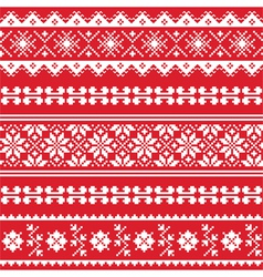 Ukrainian folk emboidery white pattern on red vector