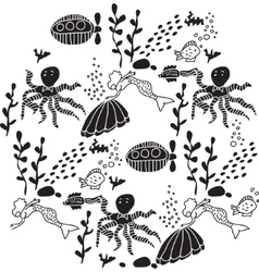 Underwater sealife animal round black and white vector image