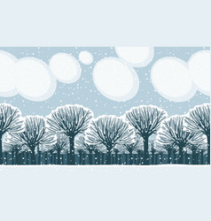 winter snow landscape with snow-covered park trees vector image