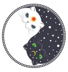 Yin yang cats vector