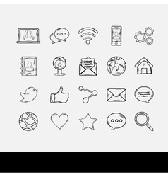 Doodle Social Network Set vector image vector image