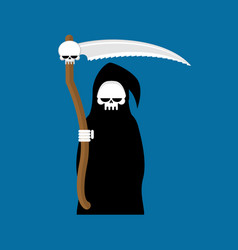 grim reaper with scythe isolated death in hood on vector image