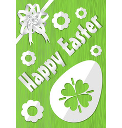 happy easter poster with white paper cuted egg vector image vector image