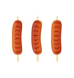 sausage on skewer barbecue kebab vector image