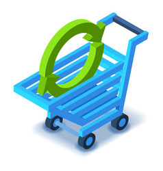 Shopping cart with arrow icon isometric style vector