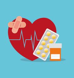 sick heartbeat healthy medicine bottle pills vector image
