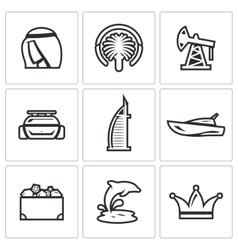 United Arab Emirates icons set vector image