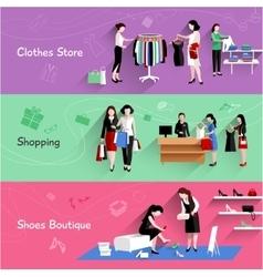 Woman Shopping Banner Set vector image