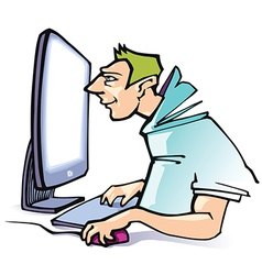Working at a Computer vector image vector image