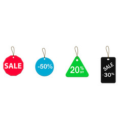 four colored price tags vector image vector image