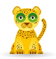 Funny jaguar on white background vector image vector image