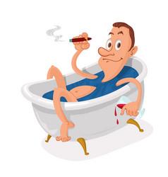 man in bathtub vector image